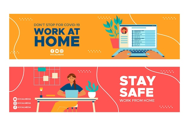 Banners designs for working at home