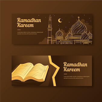 Banners drawing with ramadan