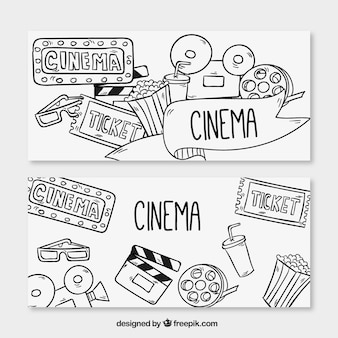 Banners of drawings related to the cinema