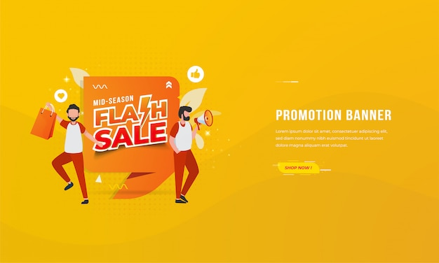 Banners for e-commerce promotions with mid-season flash sale illustration concept