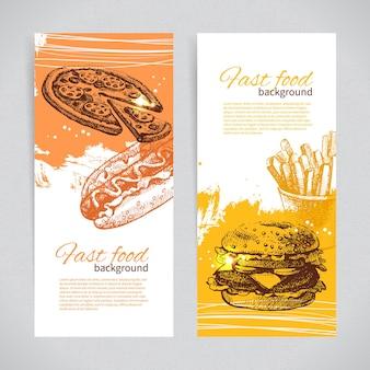 Banners of fast food design. hand drawn illustrations. splash blob backgrounds