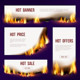 Banners flame. advertizing template with fire tongue burning sales project with text