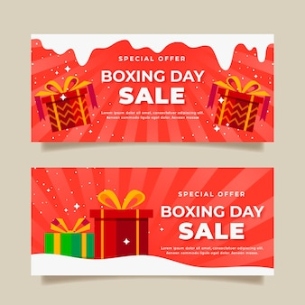Banners flat design boxing day sale
