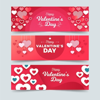 Banners in flat design style for valentine day