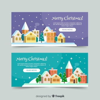 Banners in flat design with christmas town