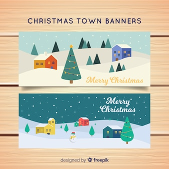 Banners in flat style with christmas town