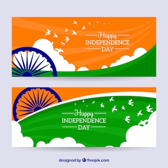 Banners for the independence day of india with flat design