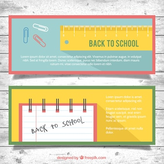 Баннеры для школы с линейкой и ноутбук