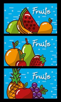 Banners fresh natural tasty fruits