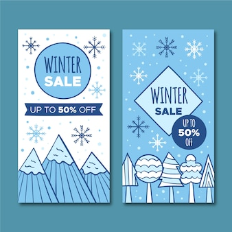 Banners hand-drawn winter sale