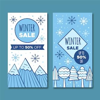 Баннеры рисованной зимней распродажи