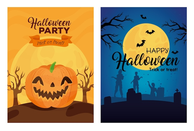 Banners of happy halloween with decoration illustration