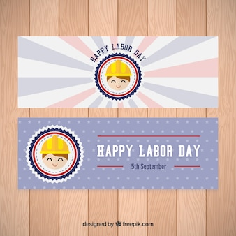 Banners of happy labor day with smiling worker