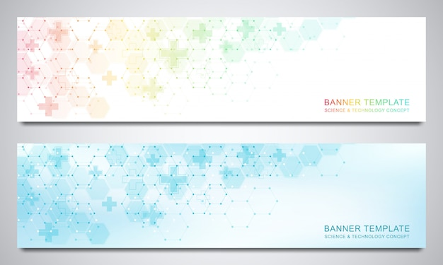 Banners and headers for site with medical background and hexagons . abstract geometric.