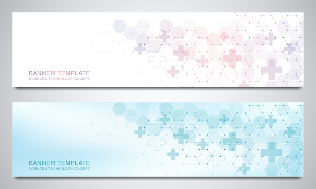 Banners and headers for site with medical background and hexagons pattern. abstract geometric. modern design for decoration website and other ideas.