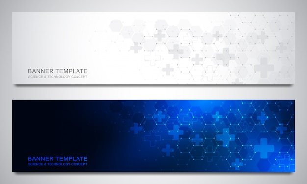 Banners and headers for site with medical background and hexagons pattern. abstract geometric texture. modern design for decoration website and other ideas.