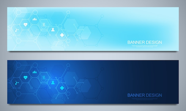 Banners for healthcare and medical decoration with flat icons and symbols