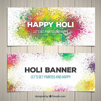 Banners for the holi festival in splash style