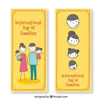 Bandiere della giornata internazionale delle famiglie in stile disegnato a mano