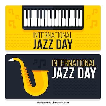 Bandiere della giornata internazionale di jazz con gli strumenti musicali