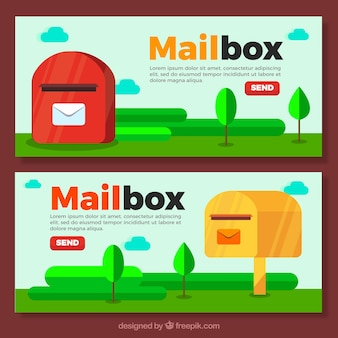 Banners of mailboxes in flat design