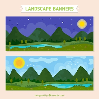 Banners of nighttime and day time landscape
