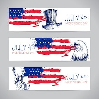 Баннеры 4 июля фоны с американским флагом. день независимости рисованной эскиз дизайна