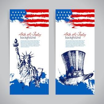 Баннеры 4 июля фоны с американским флагом. день независимости старинный рисованной дизайн
