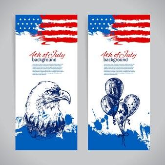 Баннеры 4 июля фоны с американским флагом. день независимости старинный рисованной дизайн Premium векторы