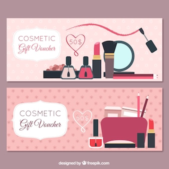 Banners of beauty products