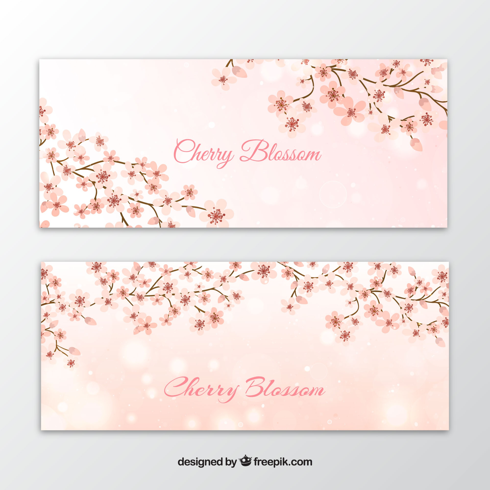 Banners of branches with cherry blossoms