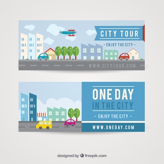 Banners of buildings and cars in flat design