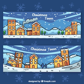 Баннеры рождественских городов
