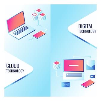 Баннеры технологий облачных сервисов, загрузка и загрузка данных на облачном хранилище