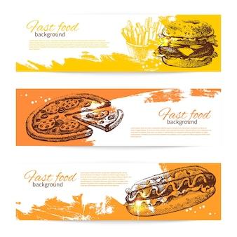 Баннеры дизайна быстрого питания. рисованные иллюстрации. всплеск капли фонов