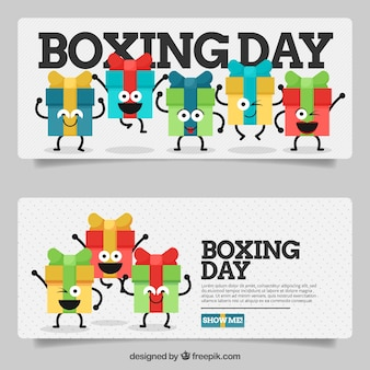 Banners of funny packaging day gifts