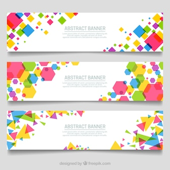 Banners of geometric colored shapes