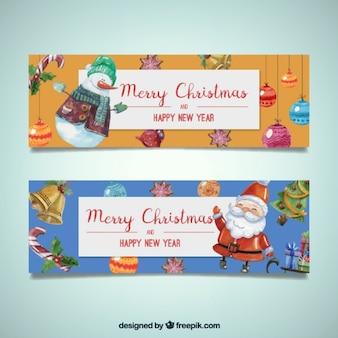 Баннеры милым акварельными рождественские персонажи
