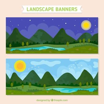 Баннеры в ночное время и в дневное время пейзаж