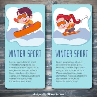 Баннеры улыбающихся детей, практикующих зимние виды спорта Бесплатные векторы