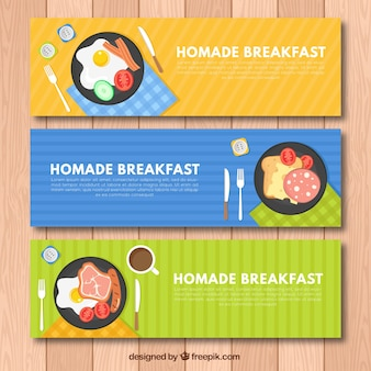 Banners of tasty breakfasts