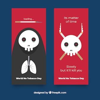 Баннеры дня для борьбы с курением черепов