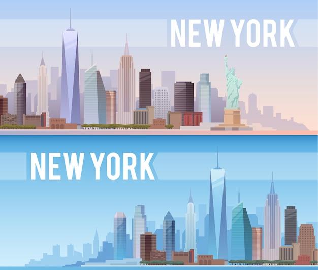 Баннеры городского пейзажа нью-йорка