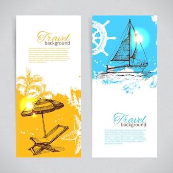 Баннеры путешествия красочный тропический дизайн. всплеск капли фонов