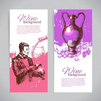 와인 빈티지 배경의 배너입니다. 손으로 그린 스케치 삽화