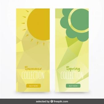 여름과 봄의 배너 팩