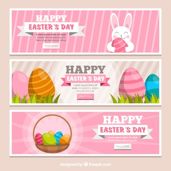 Banners of rabbits and easter eggs