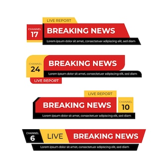 Banners red and yellow of breaking news
