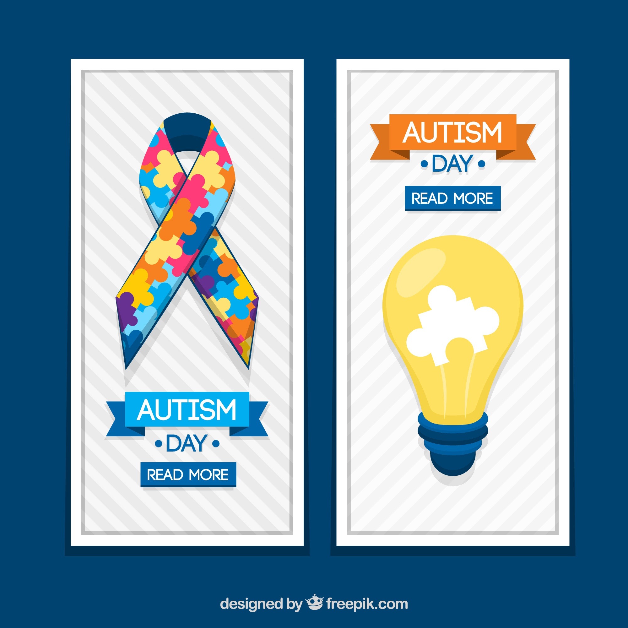 Banners ribbon and lightbulb for autism day