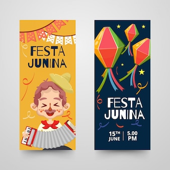 Banners or roll-ups template with decorative items for festa junina